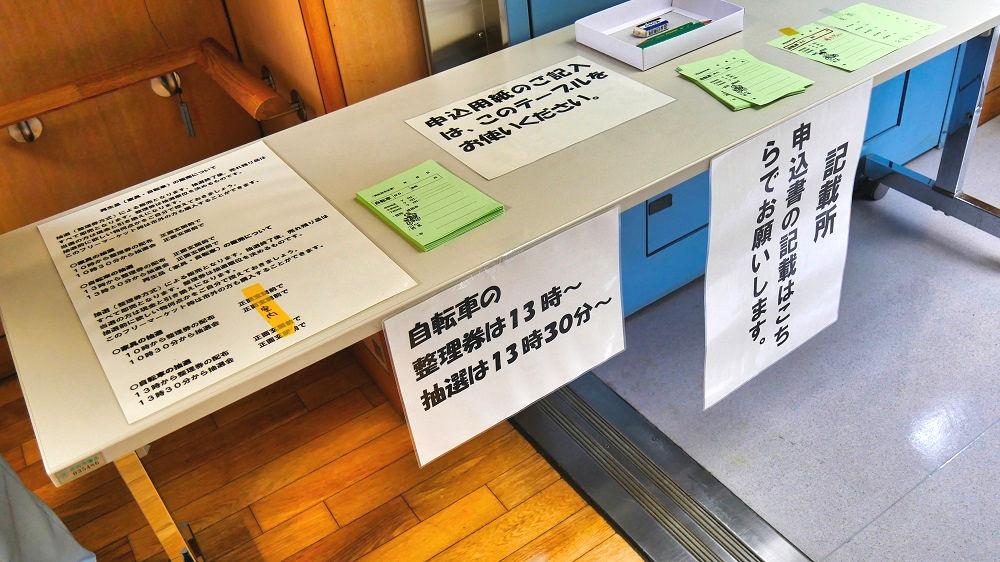 成田市リサイクルプラザの「フリ-マーケットと再生品即売会」記載所