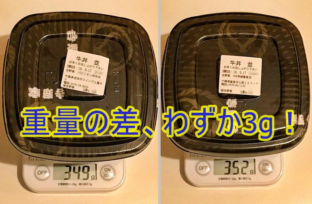 吉野家の牛丼の重量