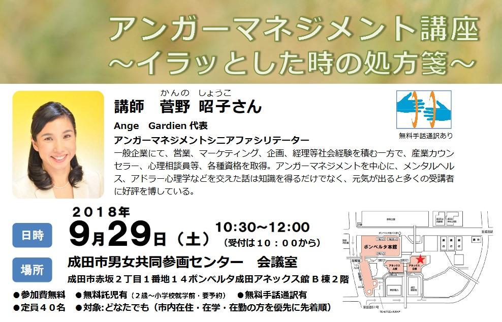 アンガーマネジメント講座(平成30年度第3回男女共同参画セミナー)