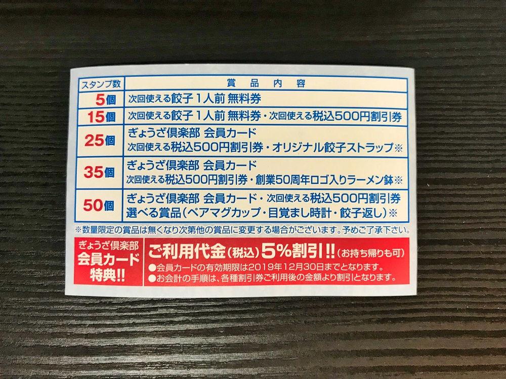 「ぎょうざ倶楽部」のスタンプカード(裏面)
