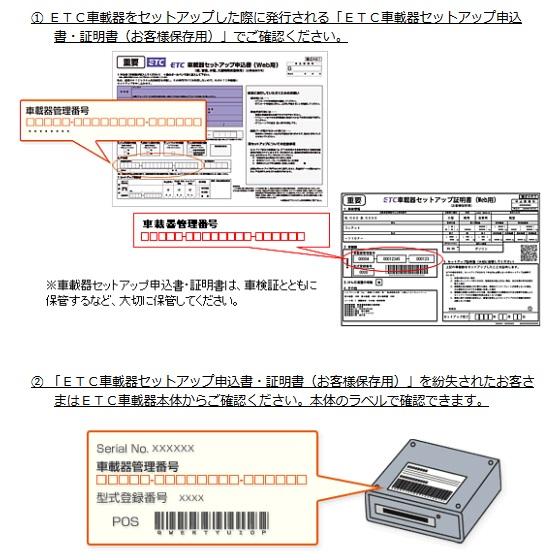 ETC車載器管理番号の確認方法
