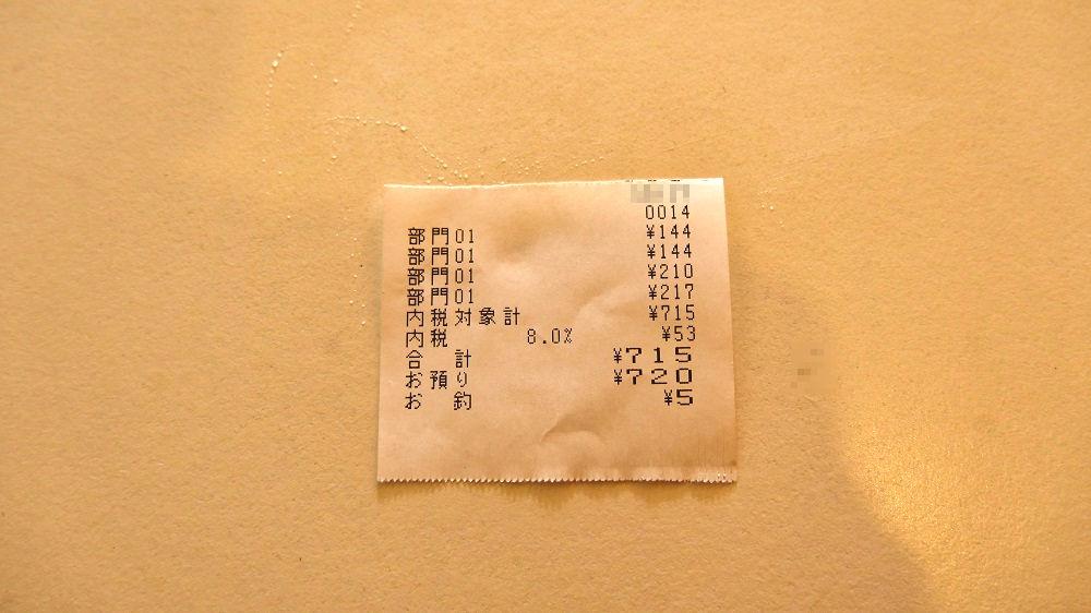 佐藤豆腐店のレシート