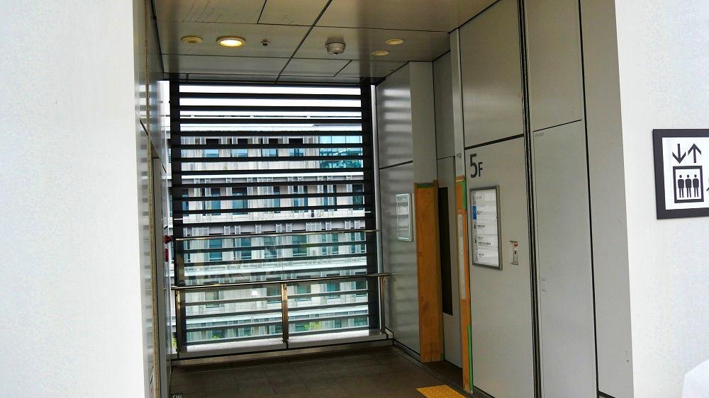 豊洲市場屋上緑化広場のエレベーター