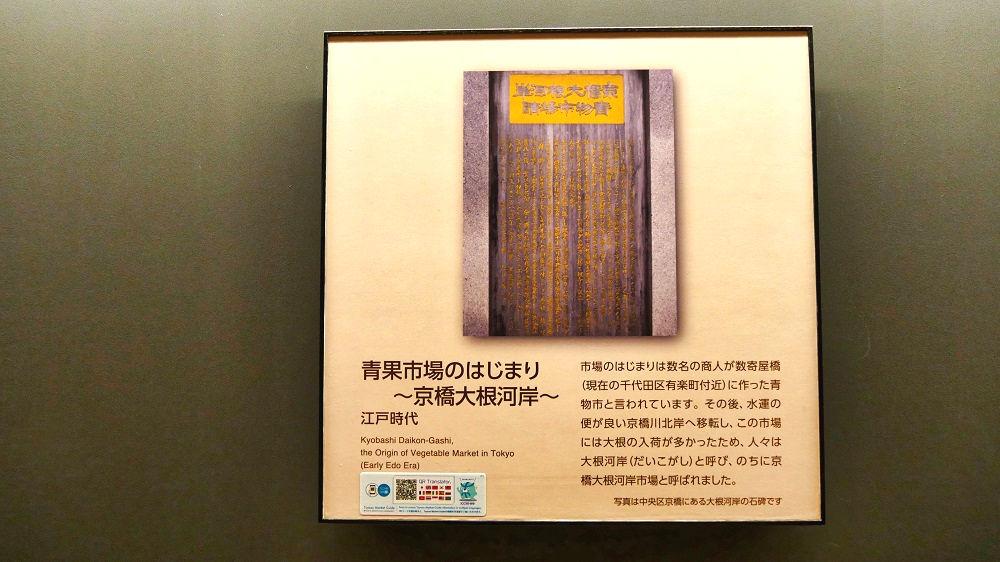 豊洲市場青果棟の連絡通路のパネル