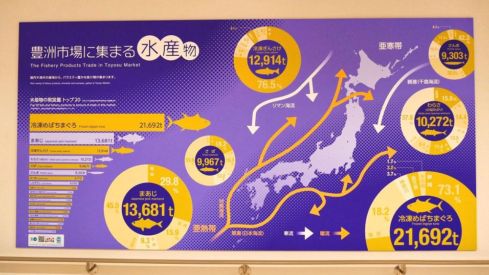 豊洲市場水産卸売場棟の説明板