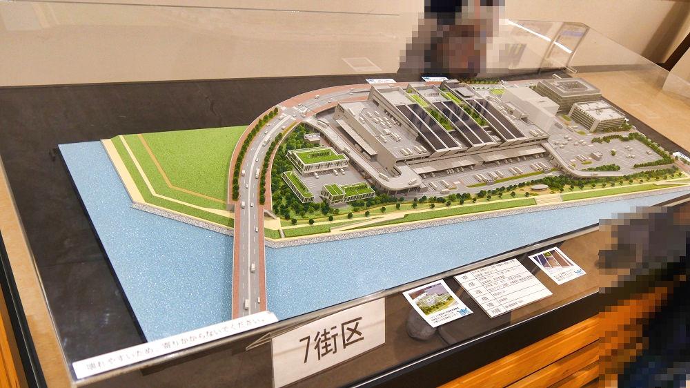豊洲市場水産卸売場棟入口の模型