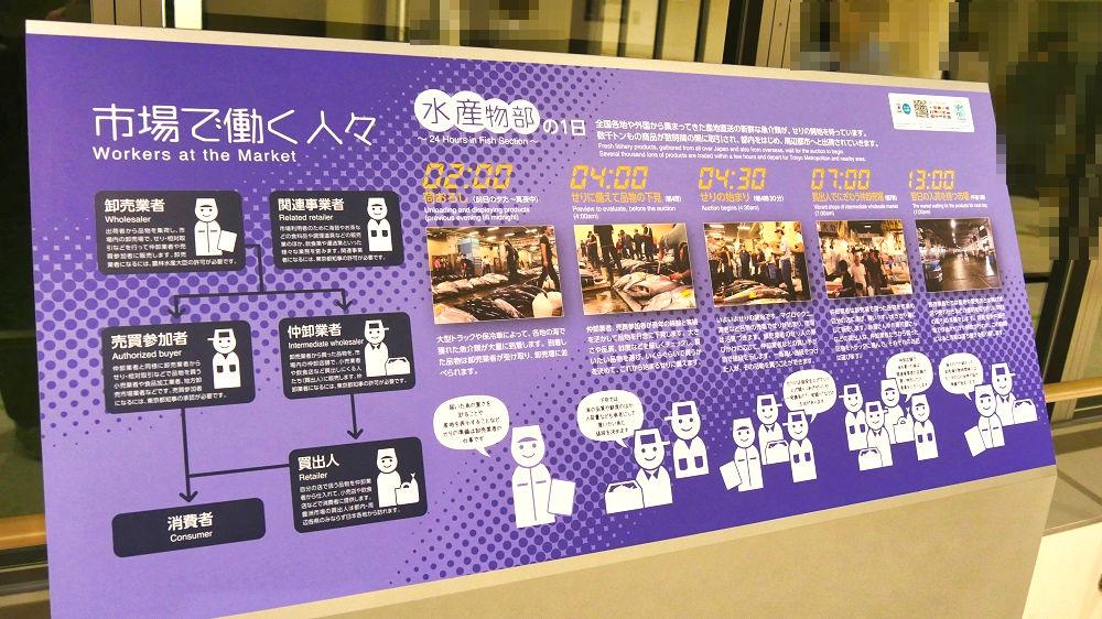 豊洲市場水産卸売場棟の紹介ボード