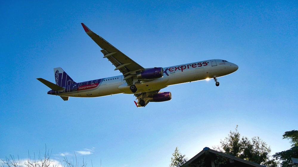 東峰神社から見える飛行機