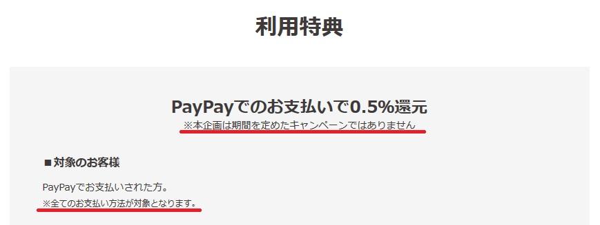 PayPay(ペイペイ)は利用額の0.5%をポイント還元