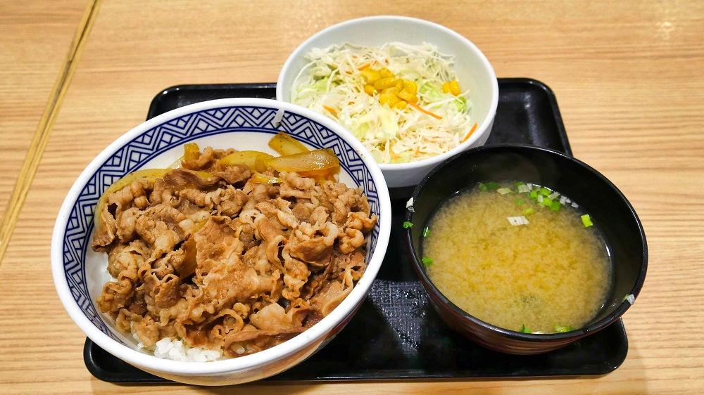 牛丼(並)+Aセット(サラダ・味噌汁)