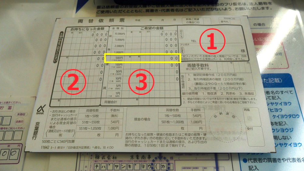 京葉銀行の両替依頼票