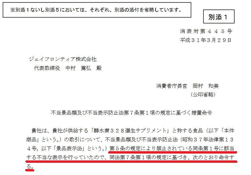 消費者庁2019年3月29日告示