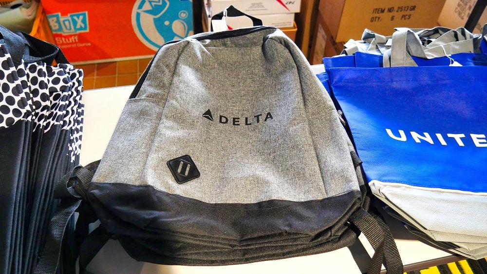 エアロマーケットの展示販売品「デルタ航空のディパック」
