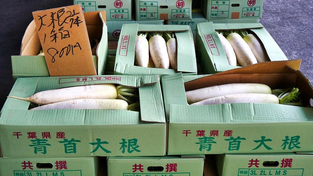 成田市場の青果棟は箱売りも多い