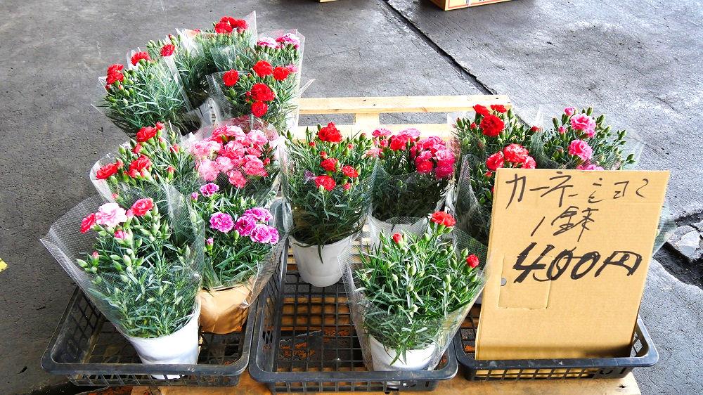 成田市場の青果棟では花き類も販売