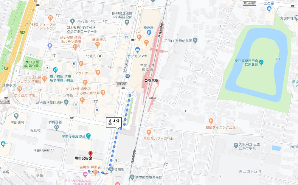 南海電鉄堺東駅から堺市役所までの地図