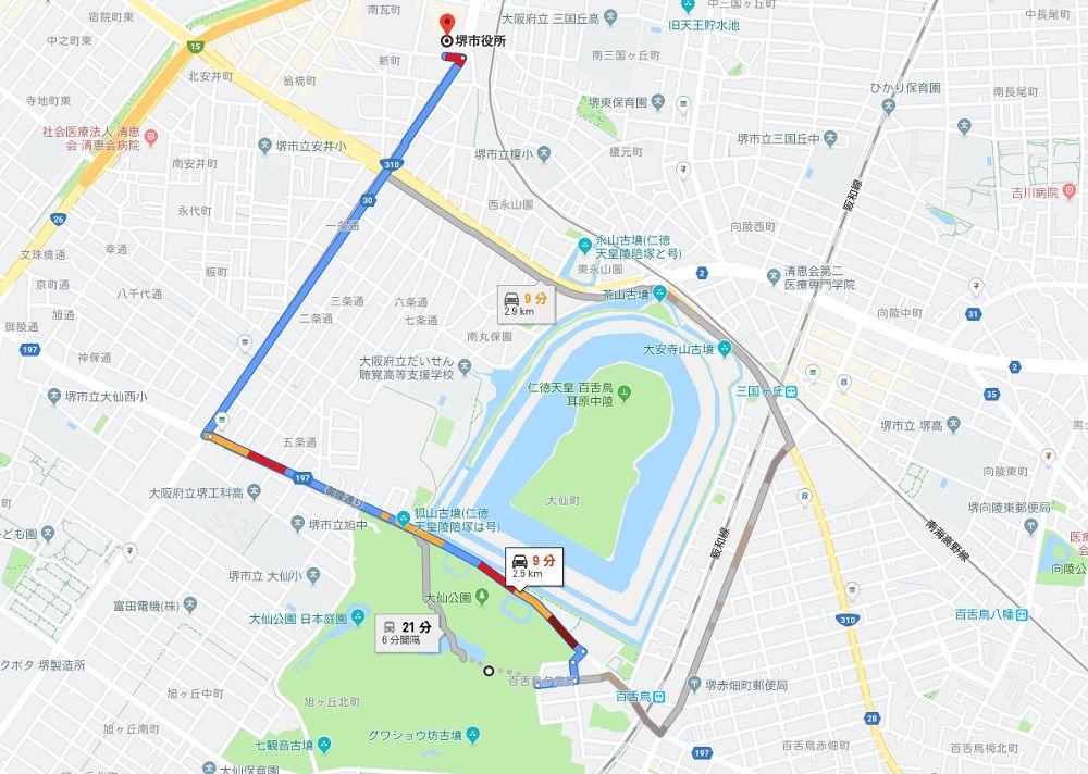 堺市博物館から堺市役所までの地図