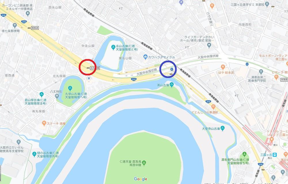永山古墳南側の陸橋の地図