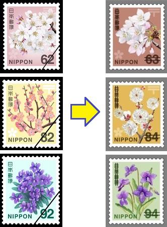 消費増税による普通切手のデザイン変更