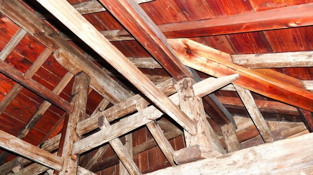 丸亀城の天守閣の木造組
