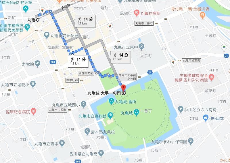 丸亀城への徒歩での行き方