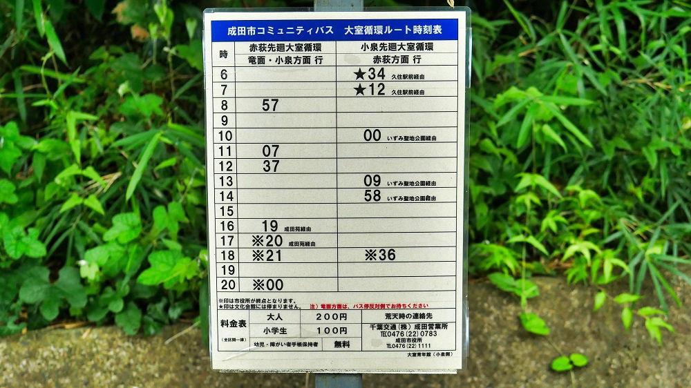 コミュニティバス「大室青年館」バス停の時刻表