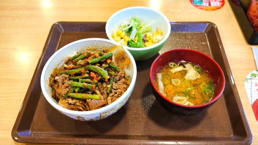 すき家の「ニンニクの芽牛丼」サラダセット