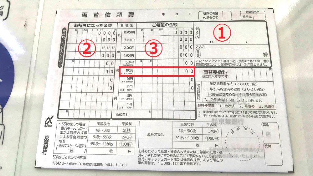 京葉銀行の両替依頼書