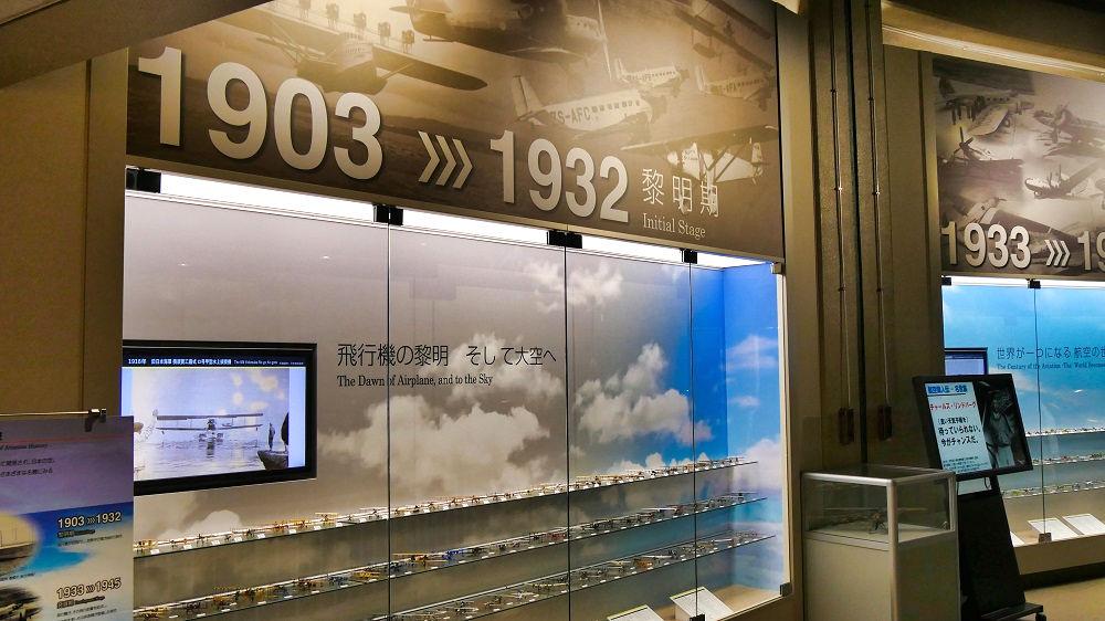 航空科学博物館の【西棟】から【東棟】への回廊