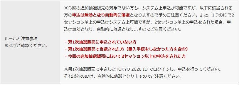 東京2020オリンピック、チケット再抽選のルール