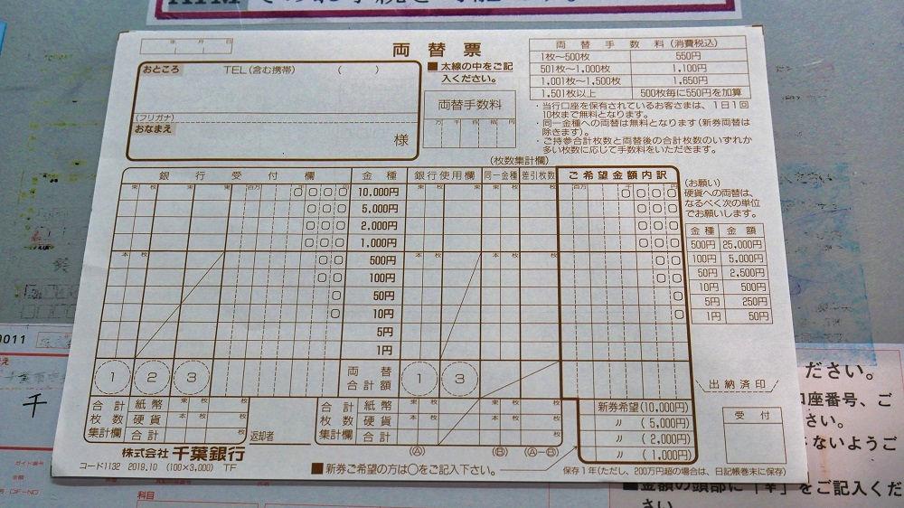千葉銀行「成田西支店」の両替票