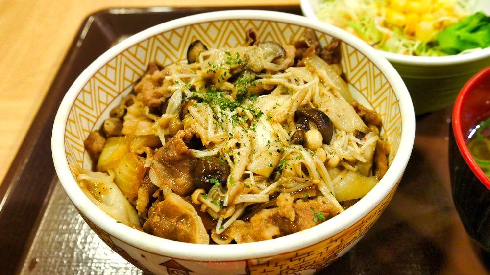 「きのこペペロンチーノ牛丼(並)」