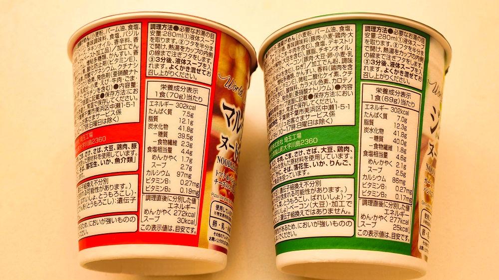 トップバリュの『マルゲリータピザ味ヌードル』と『ジェノベーゼ味ヌードル』栄養成分表示