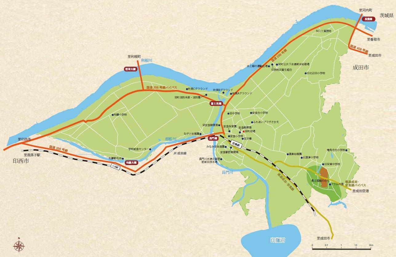 栄町のマップ