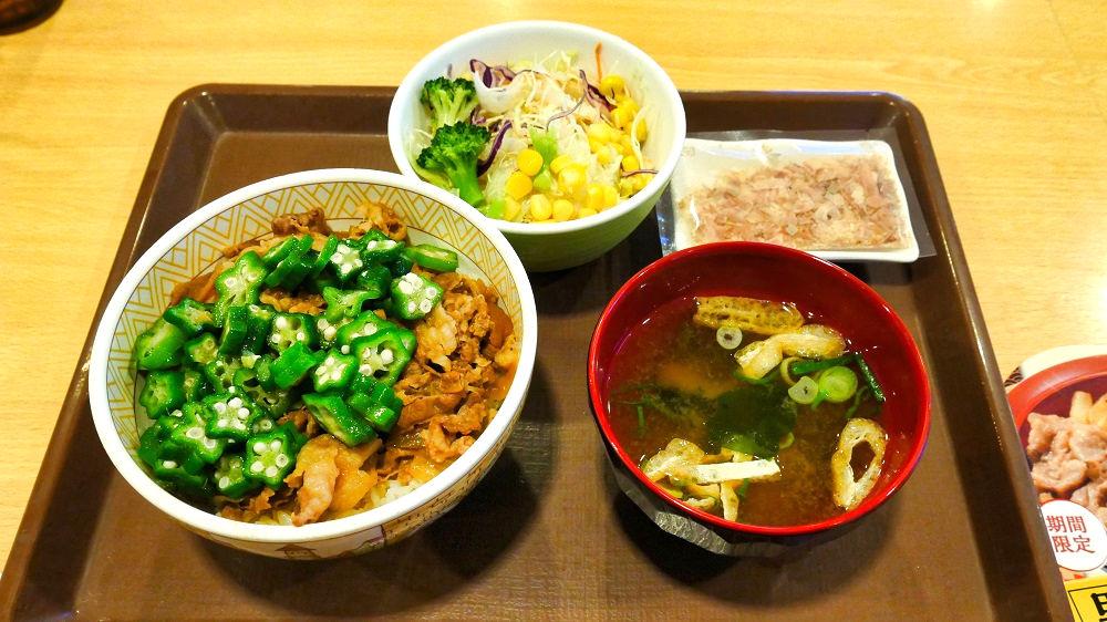 すき家の「かつぶしオクラ牛丼」+サラダセット