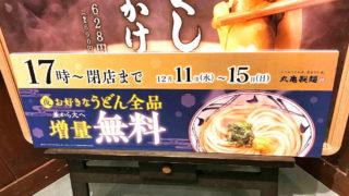 丸亀製麺で期間限定『お好きなうどん全品(並)から(大)へ増量無料』フェアを17時~開催中!