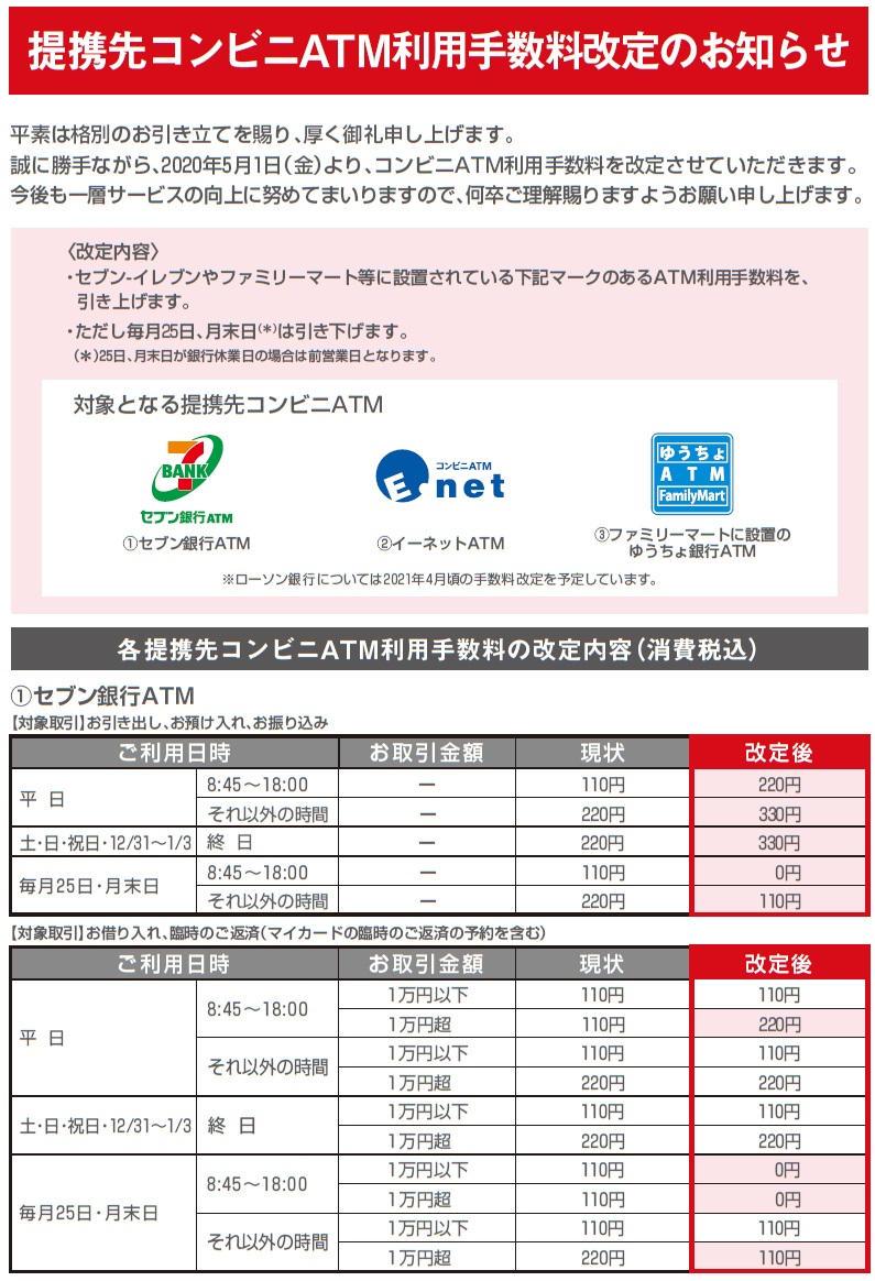 【資料】三菱UFJ銀行『提携先コンビニATM利用手数料改定のお知らせ』