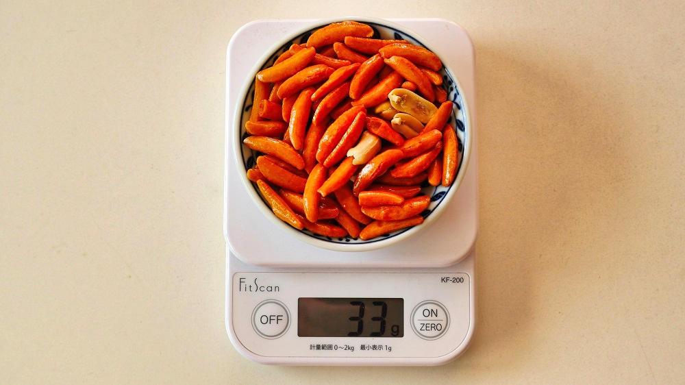 亀田の柿の種2袋目の重量計測