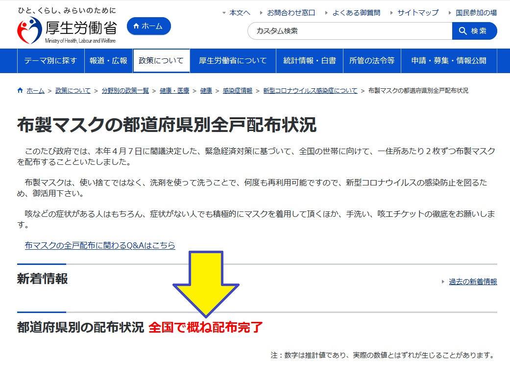 日本政府による布マスク送付が日本全国で概ね終了